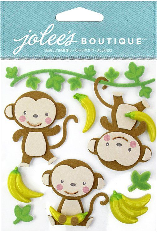 EK+Success+-+Jolee's+Boutique+-+3+Dimensional+Stickers+-+Cutesy+Monkeys+at+Scrapbook.com