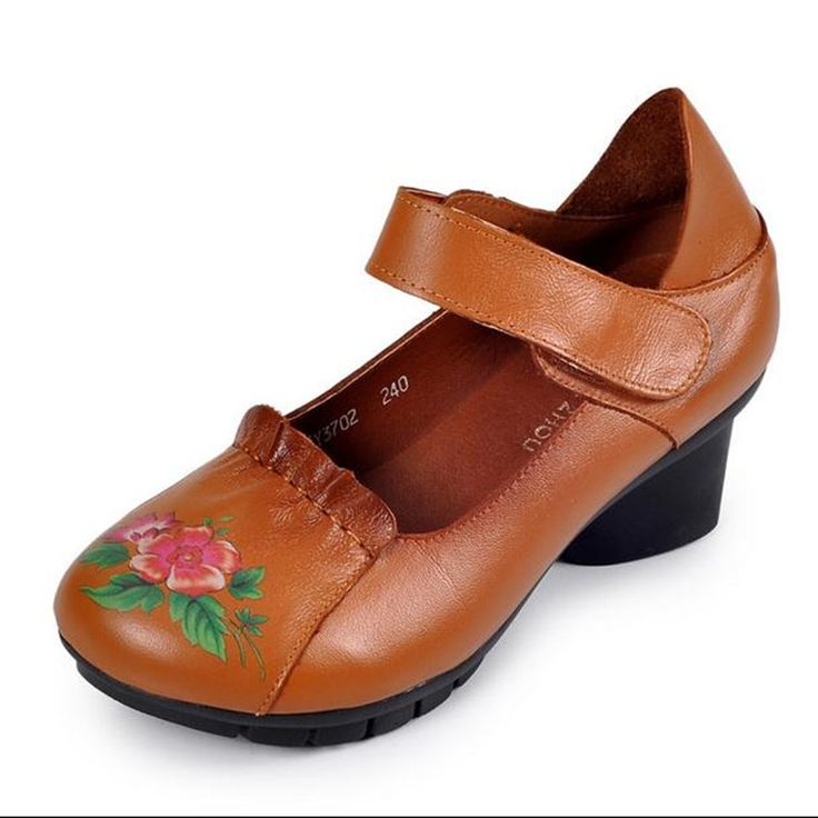 Genuine Leather retro comfortable soft bottom elderly mother shoes Velcro  women's shoes Middle heel Work shoes obuv Heels ** This is an AliExpress  affiliate ...