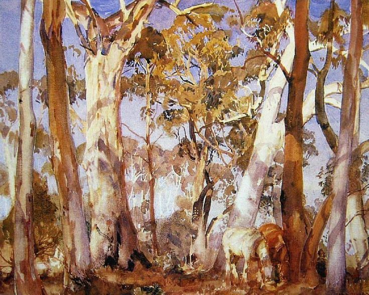 Sir Hans Heysen (1877 — 1968, Australia) Two Horses Grazing Amongst the Gums. watercolour over pencil. 32.5 x 40 cm.