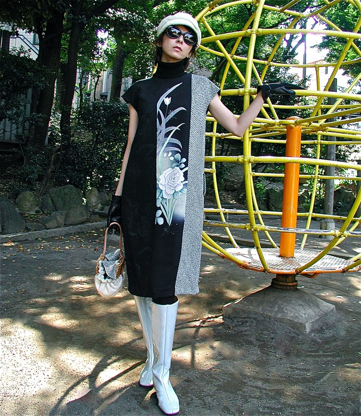 Dress is made from three types of kimono!