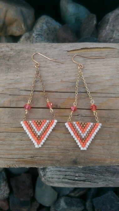 Chevron Brick Stitch Earrings