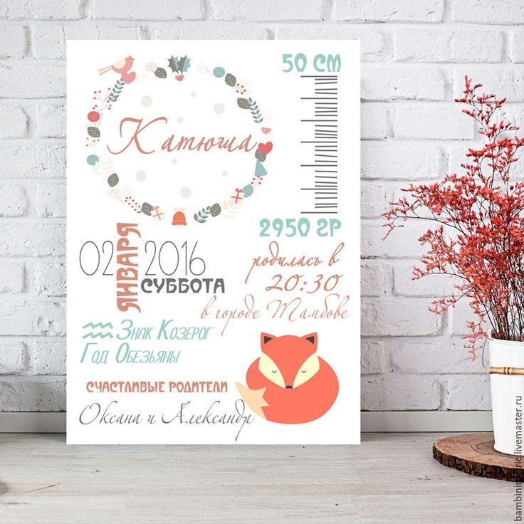 Купить Метрика детская постер - метрика, Метрика для девочки, метрика на заказ, метрика детская