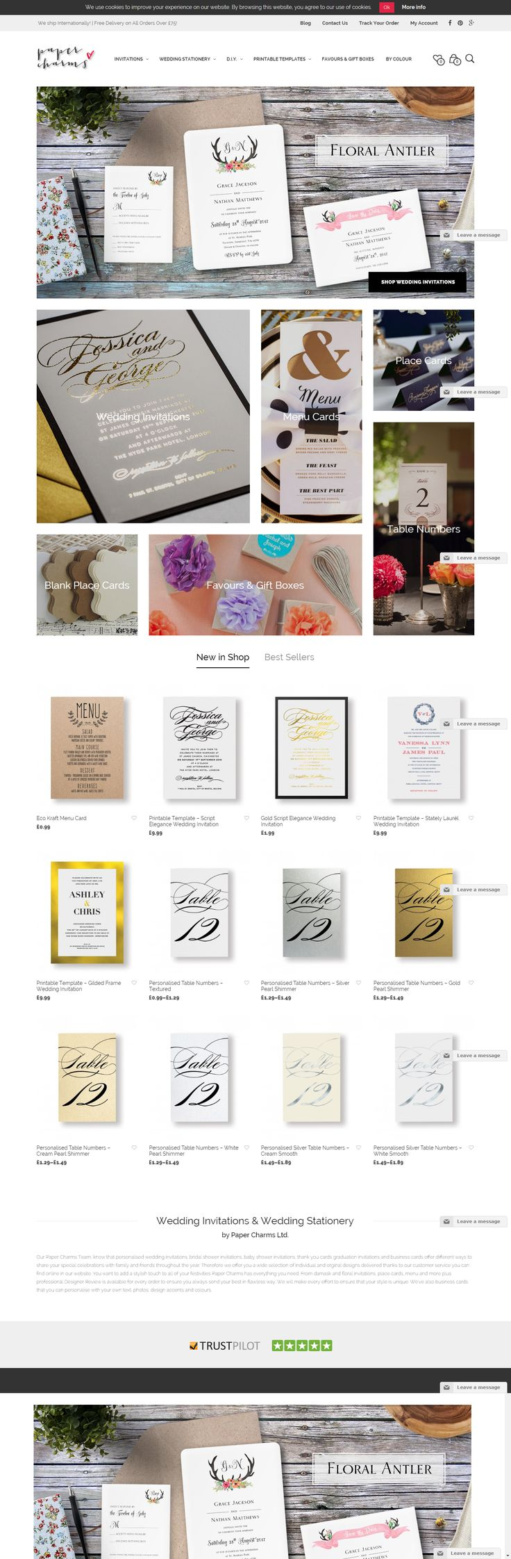 Paper Charms' website for wedding stationery, powered by Mr Tailor WordPress theme.  http://themeforest.net/item/mr-tailor-responsive-woocommerce-theme/7292110?&utm_source=pinterest.com&utm_medium=social&utm_content=paper-charms&utm_campaign=showcase #wedding #stationery #wpsites #wordpress #design