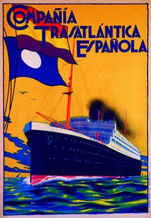 Gorgeous! Vintage Cruise Lines Travel Poster: Compañía Transatlántica Española