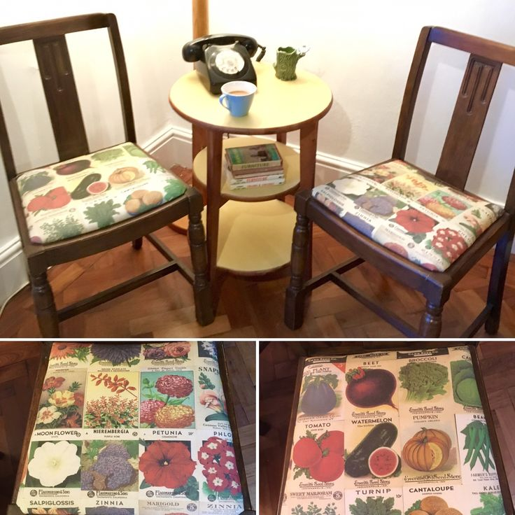 Art Deco style chairs reupholstered in vintage seed packet fabrics available here: https://www.etsy.com/uk/shop/woodenwedge