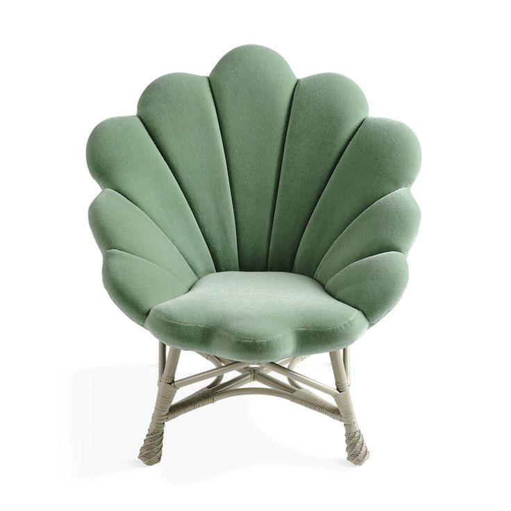 The Upholstered Venus Chair   Seafoam Green Mermaid Clamshell Chair