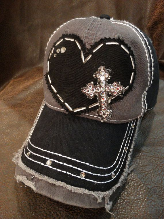 Cross My Heart Distressed Swarovski Crystal by BlingirlSpirit, $34.95