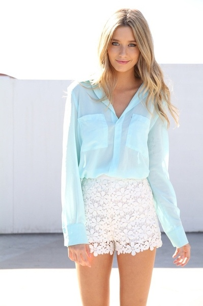 Green Pastel and laced shorts.