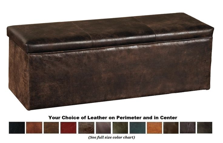 Vail Leather Covered Bench Blanket Box QUEEN (WDSBB25Q-SL) - The Vail style Queen Size bedroom bench doubles as a blanket box or storage chest that is placed at the foot of the bed. The blanket storage bench is made by Wooded River and Fireside Lodge Furniture and has an easy lift off lid. Wood box is upholstered in your choice of 12 genuine leather colors. Inside box is lined with suede fabric. Queen size Bench Storage Box measures 50 x 16 x 18 . American Made in the USA to order by Wooded…