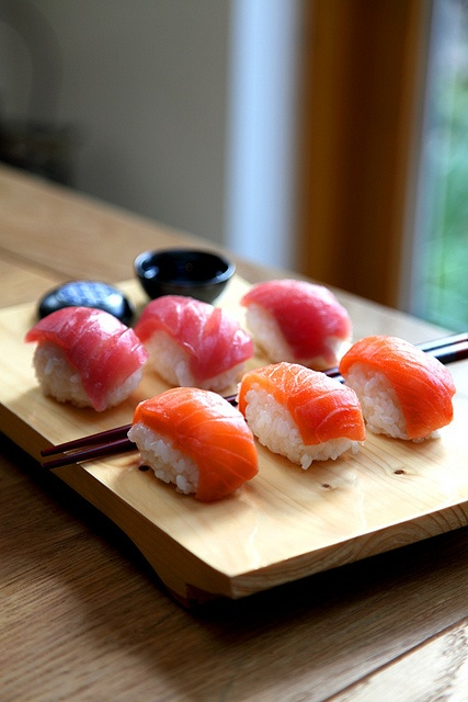 """Japanese """"sushi"""", rice and raw fish. We all have tried this at least once. So yummy..."""