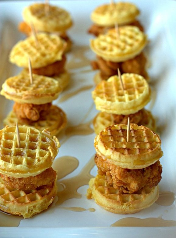 """Mini Buttermilk Caribbean Chicken&Waffle Sliders w/Ice Syrup"""" great ..."""