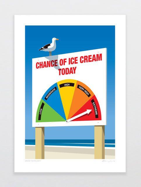 Chance of Ice Cream art print by Auckland designer Glenn Jones #foundonfelt #aklfair #newzealandmade #pinandwin