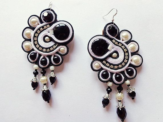 Soutache earrings black and white glam rock by mysweetcrochet,