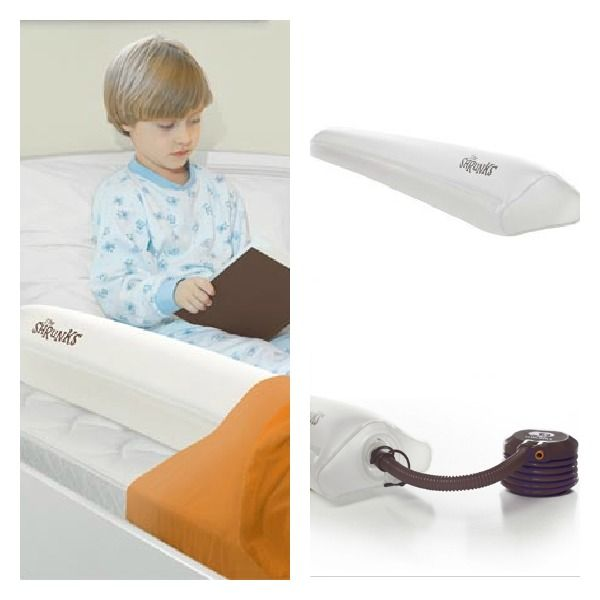 **SALE** Keep your child safe from rolling off the bed with The Shrunks Inflatable Bed Rail. Its slim design allows the bed rail to slip conveniently under any fitted standard sized twin, queen or king size bed sheet.