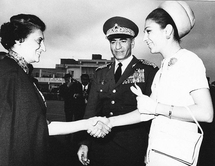 Shah Mohammad Reza Pahlavi and Shahbanu Farah Pahlavi meet Prime Minister Indira Gandhi, state visit in India, 1970