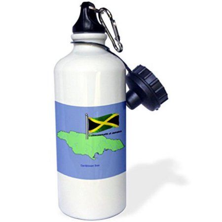 3dRose Flag and Map of The Commonwealth of Jamaica with waving Jamaican flag, Sports Water Bottle, 21oz, White
