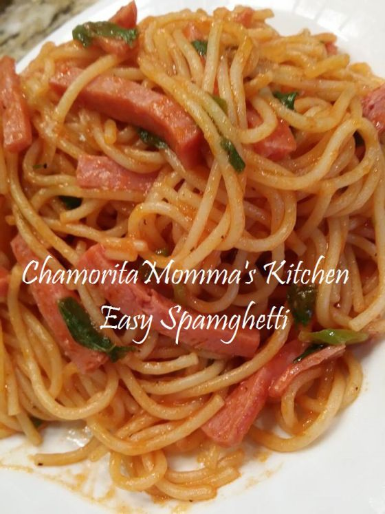 spaghetti with surprise ingredient...SPAM