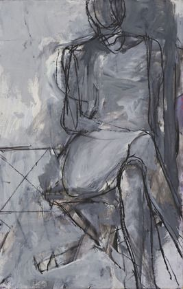 "Seated Woman, Richard Diebenkorn, 1966, synthetic polymer paint and charcoal on board, 31"" x 19 7/8"""