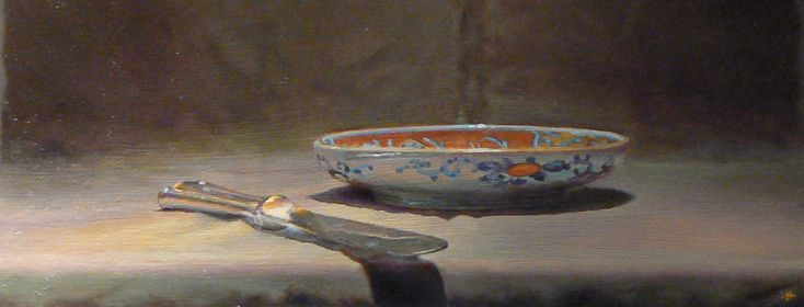 """Today's painting for you: """"Knife and Imari"""", Oil on Panel, 4x10 inches, 2008 Today's painting goes all the way back to 2008, about the time I was starting to paint only still life. There are a lot of things I'd do differently with this painting today, but there are a lot of things I'd do the same. Looking back at it, I appreciate the palpable sense of silence, as well as the near-emptiness of the composition. I enjoyed looking at it again, and hope you do, too."""