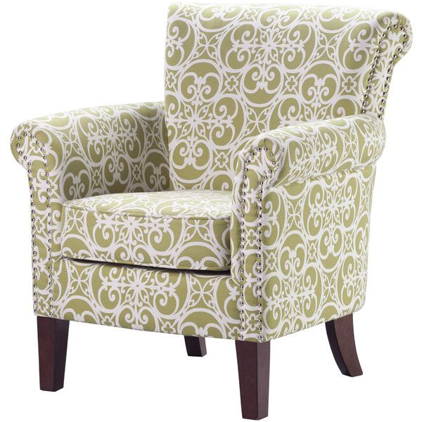 Madison Park Miri Tight Back Club Chair--Green ($300) ❤ liked on Polyvore featuring home, furniture, chairs, accent chairs, green, patterned accent chairs, green furniture, green accent chair, high back chair and tall back chairs