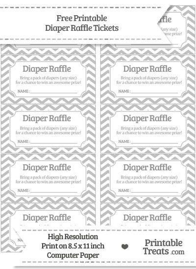 Free Silver  Chevron Diaper Raffle Tickets