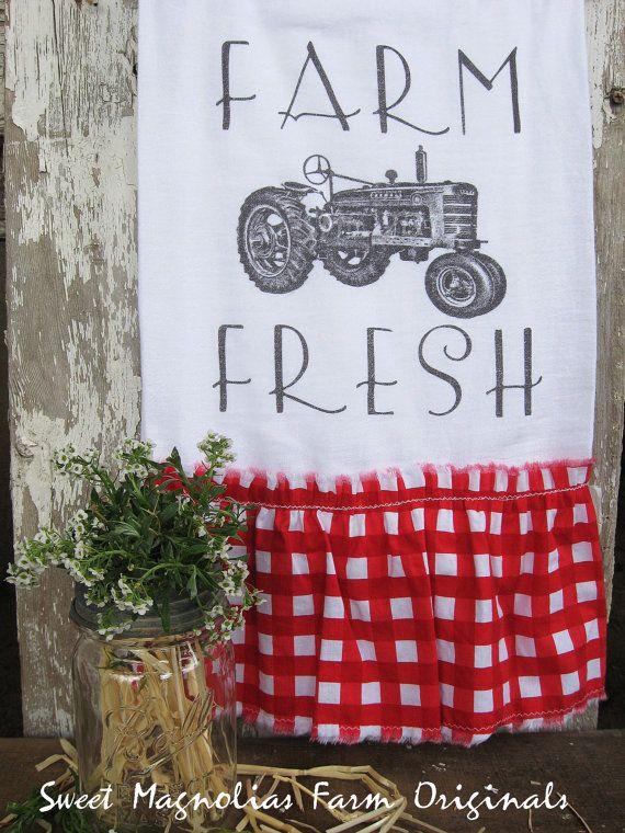 "Flour Sack Kitchen Towel... Farmhouse Vintage Tractor Country Style Cottage Chic Red Gingham Ruffle... ""Farm Fresh""... Sweet Magnolias Farm on Etsy, $16.00"