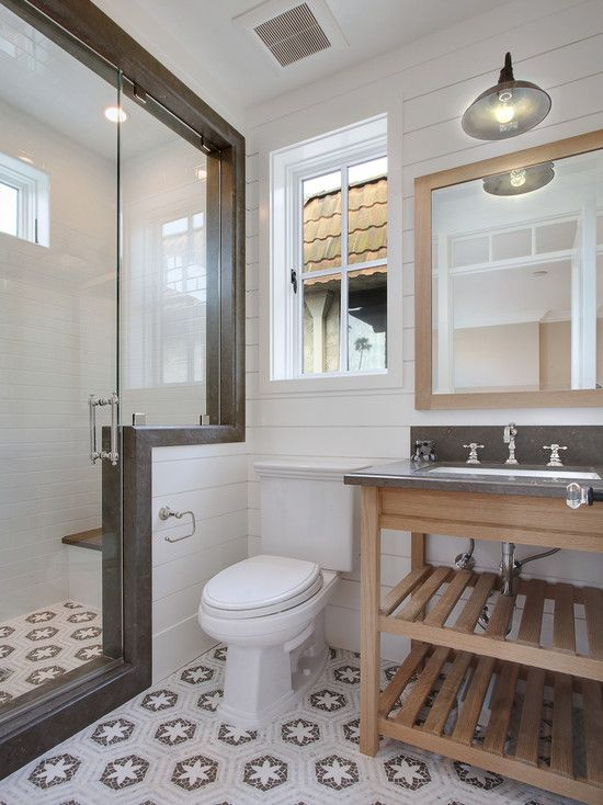 Small bath layout idea. Not this exact style (tile, etc.), but I like the shower area.