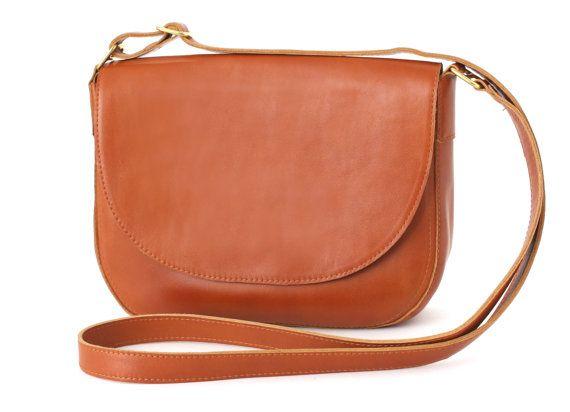 Crossbody Saddle Bag Cognac Brown minimalistic by alexbender