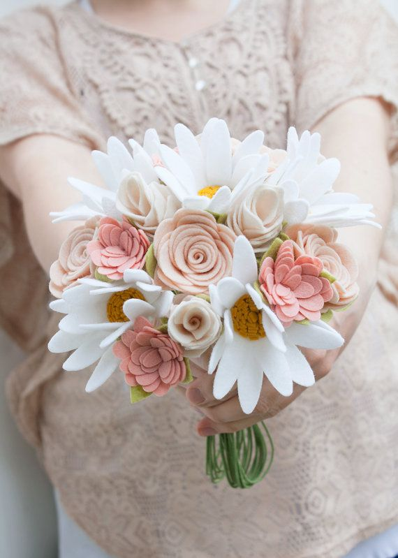 An absolute beautiful collection of flowers perfect for any pastel colored wedding. { Details } MATERIAL: Wool Blend Felt / Wire Stems