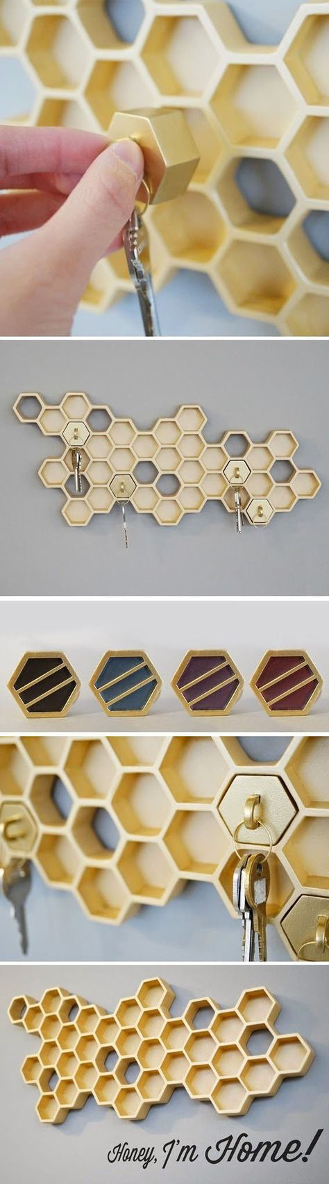 Honey Comb Key Rack // SO cUte! #diy #inspiration #organize