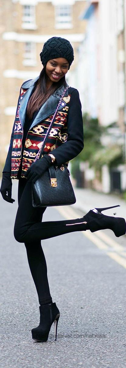 Street style   Accesorize beanie. Zara coat. Topshop jumper. Zara leggings. Carvela boots. Naledi bag.