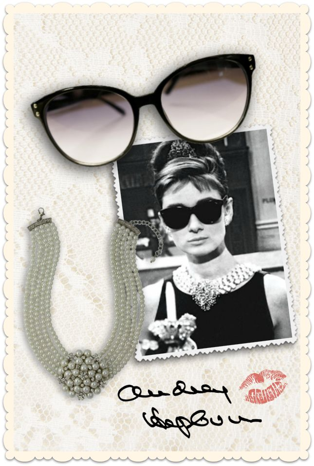 Get the Audrey Hepburn look from the Breakfast at Tiffany's movie with our Collectif Clothing sunglasses and Lovett&co pearl neacklace ♥ MissRetroChic.com retro, vintage & glamour boutique online