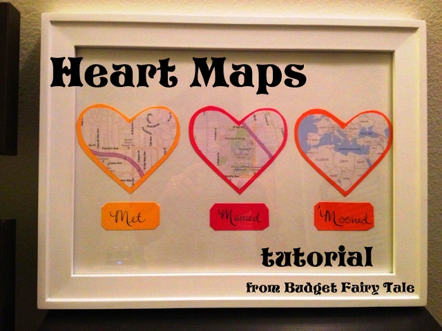 First Anniversary Gift Map Hearts Display Tutorial And Other Paper Ideas