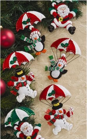 Bucilla Dropping In Felt Christmas Ornaments Kit - Click Image to Close