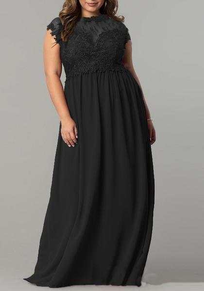 f17f735676df Black Patchwork Lace Draped Plus Size Banquet For Wedding Party Elegant  Maxi Dress