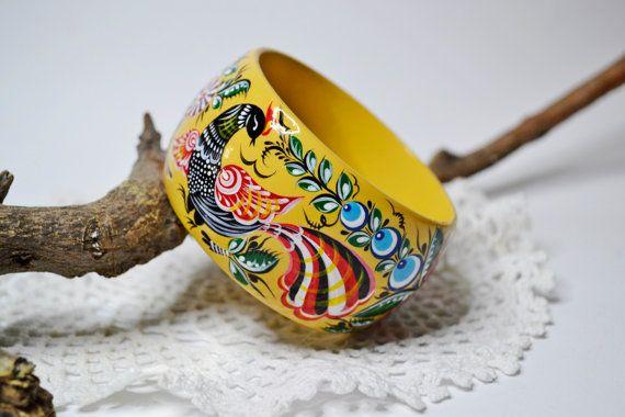 Hand painted Bangle Wooden Bracelet Russian folk style