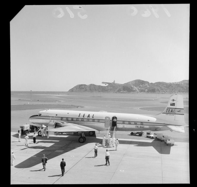 TEAL DC6 on charter to NAC (National Airways Corporation) on the tarmac at Rongotai Airport, Wellington I was there too...