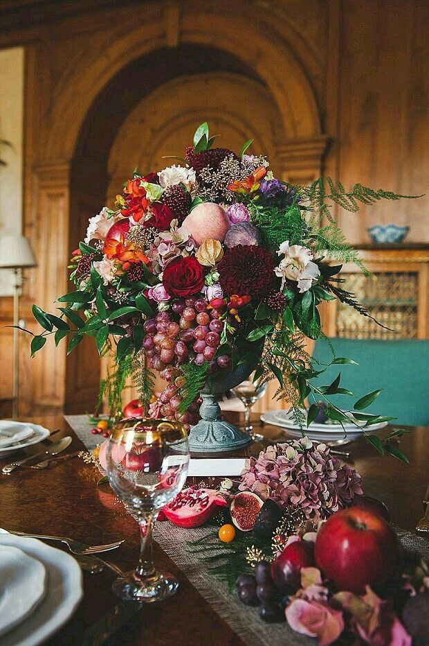 Bountiful arrangement with grapes - great for a fall harvest wedding