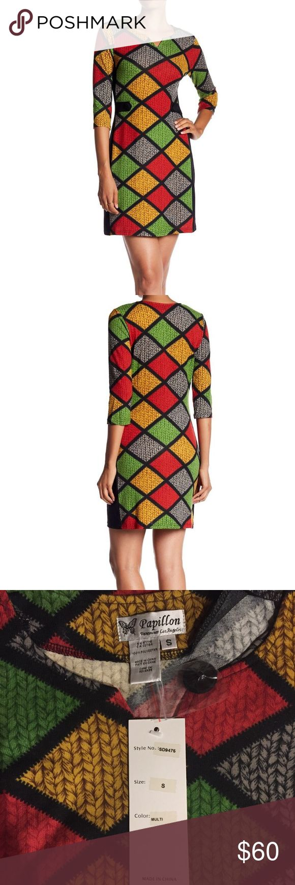 "Papillon 3/4 Knit Shift Dress Papillon 3/4 Knit Shift Dress. Spilt neck, Front button detail, all over pattern, contrast side panels, knit construction, approx 34"". The color is true to the stock photo.. Red, Green, gold, and black. 100% polyester. Fits an XS or S Nordstrom Dresses"