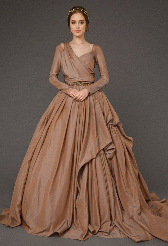 Luxury Ball Dress Shocolatu Color In 2020 Brown Wedding Dress Ball Dresses Brown Wedding