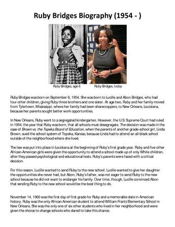 ruby bridges biography what happened next of lesson plans and 39 salem 39 s lot. Black Bedroom Furniture Sets. Home Design Ideas