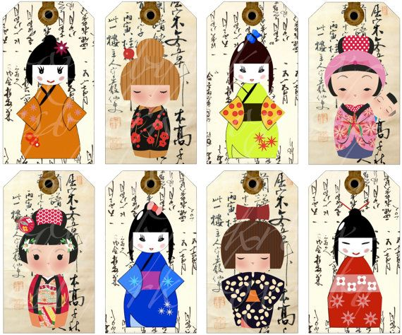 16 Kokeshi doll tags on a background of Asian writing - digital download or digital collage  --  no. 179