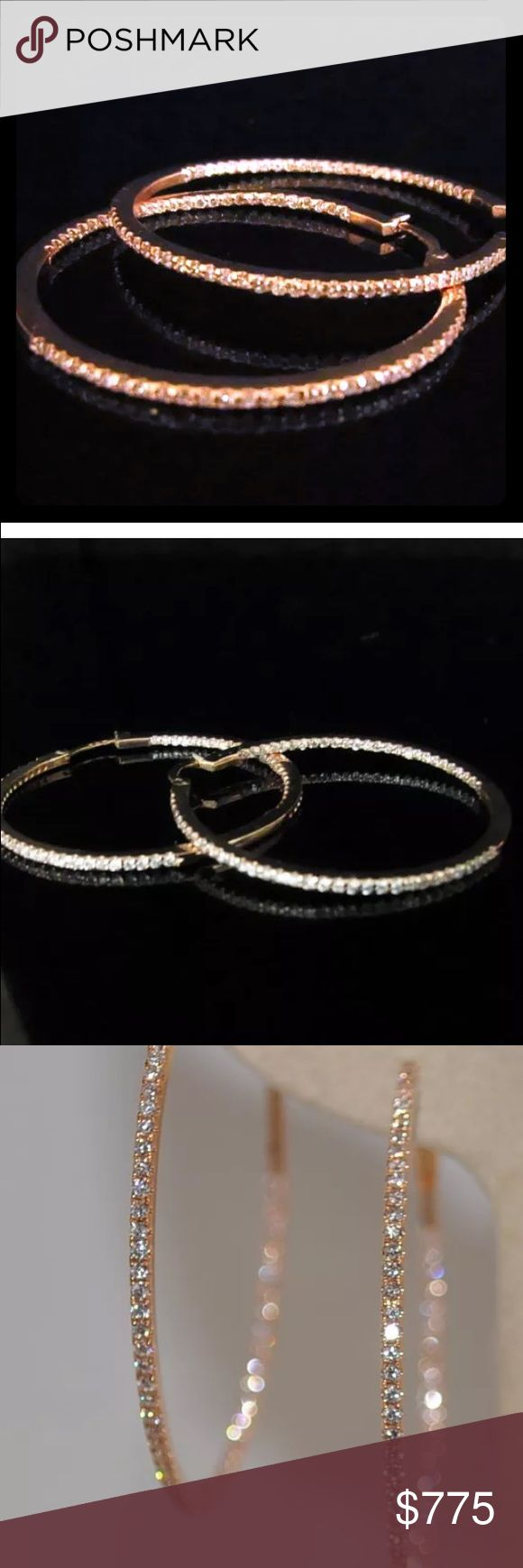 1.05 carat 14k rose gold diamond hoop earrings 1.05 carat 14k rose gold diamond hoop earrings Jewelry Earrings