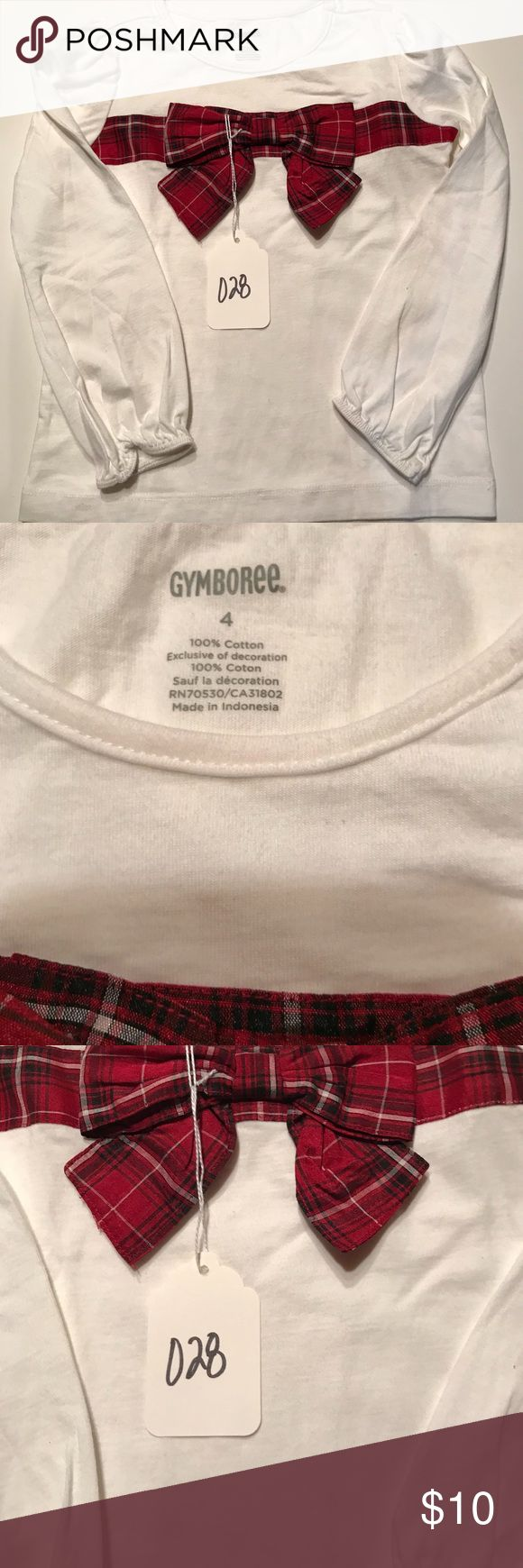 EUC Gymboree  Size 4 White Top Satin Plaid Bow *Make Me An Offer* All of my items in both my Closet and Boutique come from a smoke free and pet free environment. Pre-owned items are only owned by one owner which is me. All items listed as EUC mean they have been worn once or twice and laundered by the instructions per each garment. I love to shop and have lots of kids but they can't wear everything before they grow out of it! 😊 Also, any shadows in the pictures are not stains or faded…