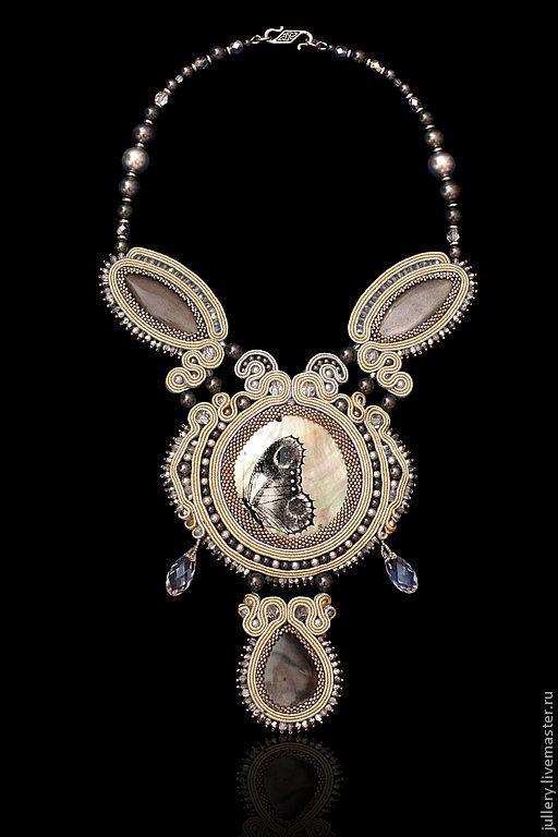 "Колье ""Бабочка"" - серебряный,колье,сутажное колье,ожерелье,бабочка,подарок 2015"