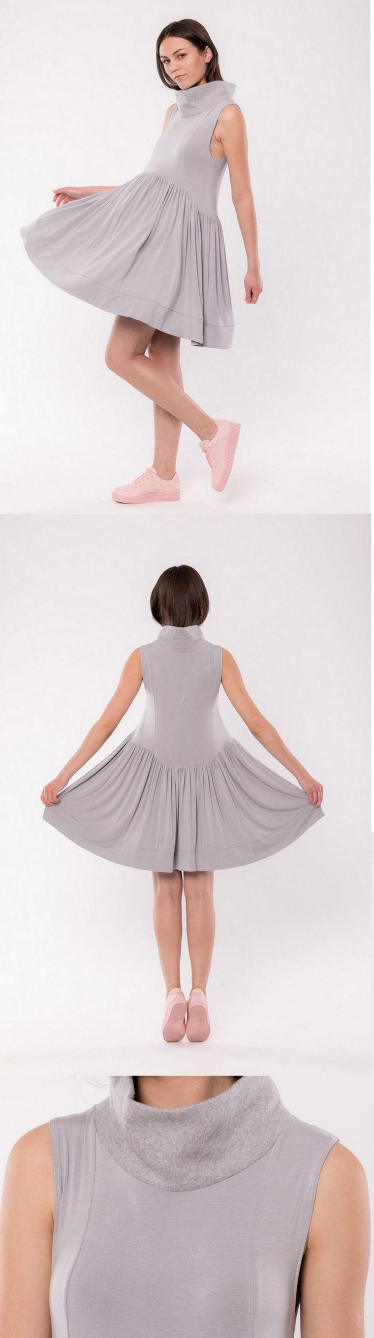 Fludra Slow Fashion knitted dress with fleece collar, designer Anna Fludra