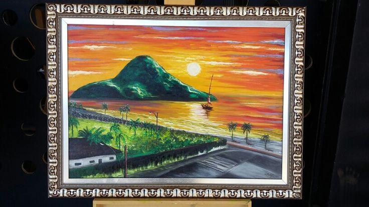 Knife modern oil painting on canvas   by Leonel Muniz - size: 60cm X 80cm.  $ 300.