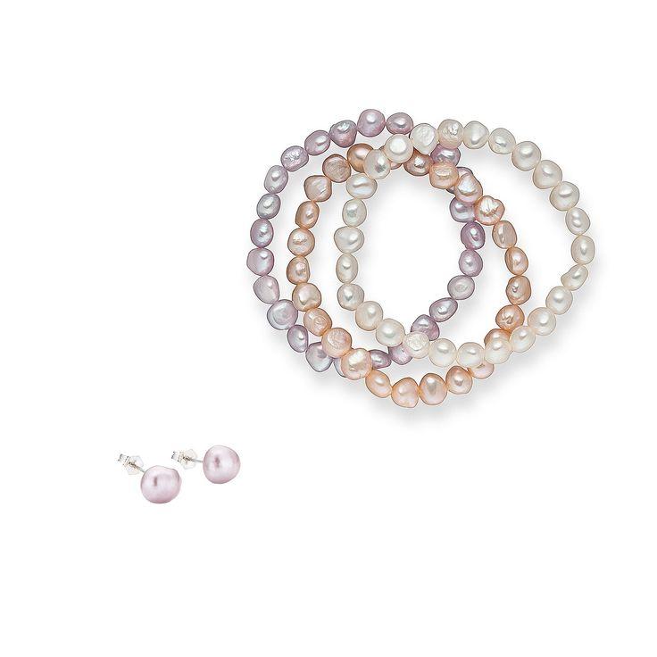 Set Valero Pearls și Sakura Pearl Sidef de Lalea Roz (cercei, brățară trio)