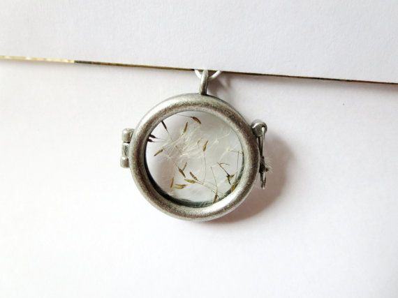 SALE today Dandelion  necklace - Glass  Bottle necklace -  Make A Wish Glass necklace- Dandelion Seed Transparent real  Flower