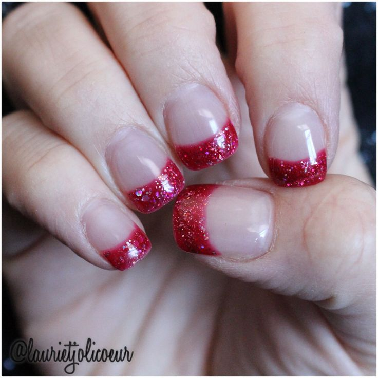 Glitter French tip shellac nails on top of solar nails